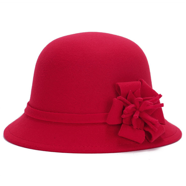 cc0d7d46fe1c5a Naiveroo Women Wool Felt Fedora Flowers Hat Ladies Wide Brim Hat Autumn  Winter Noble European American Elegant Girls Fashion Cap