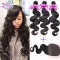 3Pcs Indian virgin hair body wave with closure 7A unprocessed virgin hair bundle deals human hair with closure raw Indian hair