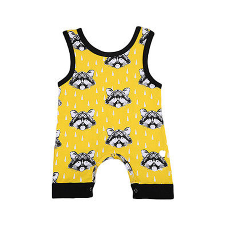 2017 Hot sell Cute Toddler Baby Boy Kids Clothes Summer Little Bear Sleeveless Bodysuit Jumpsuit Baby Clothing Outfits