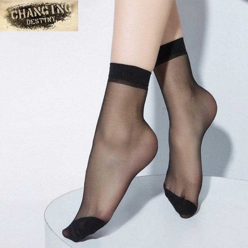 Summer Ultrathin Transparent Crystal Silk Socks for Women High Elastic Black Nylon Short Socks Female Socks 5 Pairs/lot