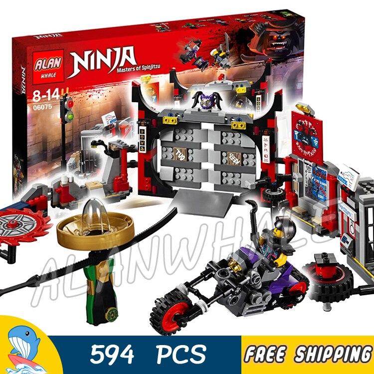 594pcs Ninja S.O.G. Headquarters Oni bike Spinjitzu Spinner 06075 Model Building Blocks Assemble Toy Bricks Compatible With lego oni namerenno priblizhayut carstvo antixrista