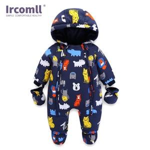 Image 3 - Ircomll 2019 יילוד תינוק Rompers חורף עבה חם ילד תינוק בנות בני תינוקות בגדי Camo פרח סלעית סרבל ילדים להאריך ימים יותר