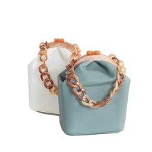 цены Women Box Bucket Acrylic Clip Evening Bag Chic Ins Acrylic Chain Luxury Handbag Banquet Party Purse Shoulder Bags