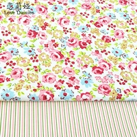 100 Cotton Twill Cloth Fresh Pink Floral Pink Green Stripe Fabric For DIY Kids Bedding Cushions