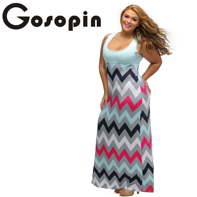 83d31a5f40 Gosopin Sexy Ladies Plus Size Light Blue Top Multicolor Zigzag Maxi Dress  Vestidos Feminino Casual Party Loose Dresses LC61183-in Dresses from  Women's ...