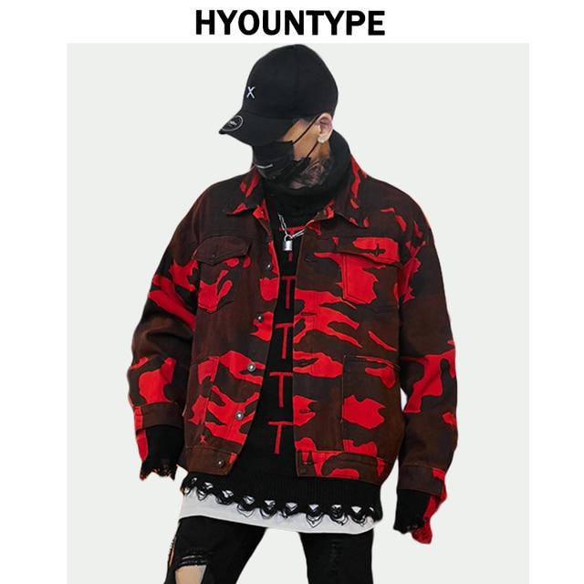 b7dcd71ac2 High Street Red Camouflage Denim Jackets Autumn Long Sleeve Outerwear Men  Rock Hip Hop Loose Single Breasted Parkas Jean Jacket