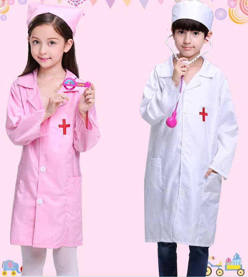 Nurse Child Costume Doctor Kids Toddler Halloween Boy Girl Cosplay Carnival Masquerade Dress Up Plus Size