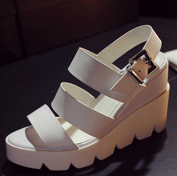 ФОТО ENMAYER new gladiator sandals women wedge high heels fashion women sexy Platform sandals Hot style Genuine Leather sandals