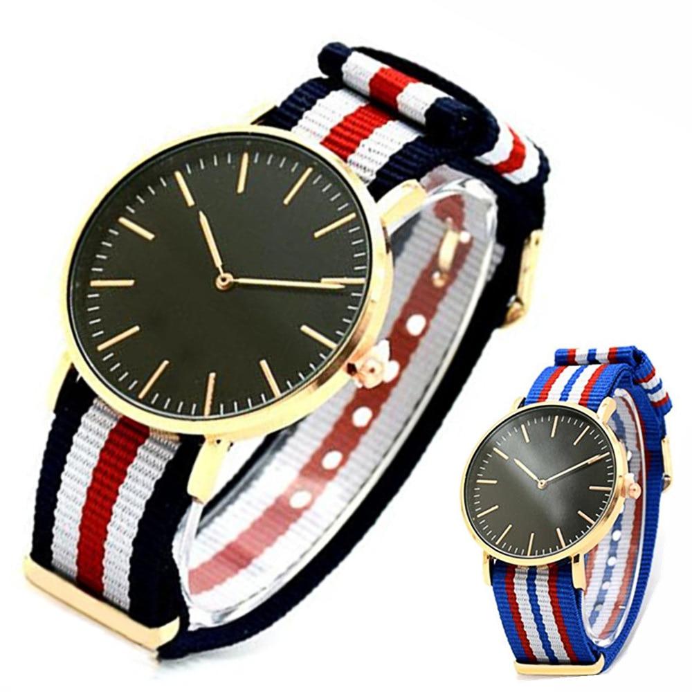 Hot Sale Nylon Strap Style Quartz Women Watch Top Brand Watches Fashion Casual Fashion Wrist Watch Relojes Gold Watch Men