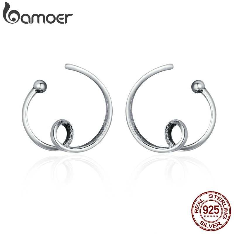 BAMOER Genuine 925 Sterling Silver Simple Abstractionism Twisted Line Stud Earrings for Women Vintage Jewelry Bijoux Gift SCE111