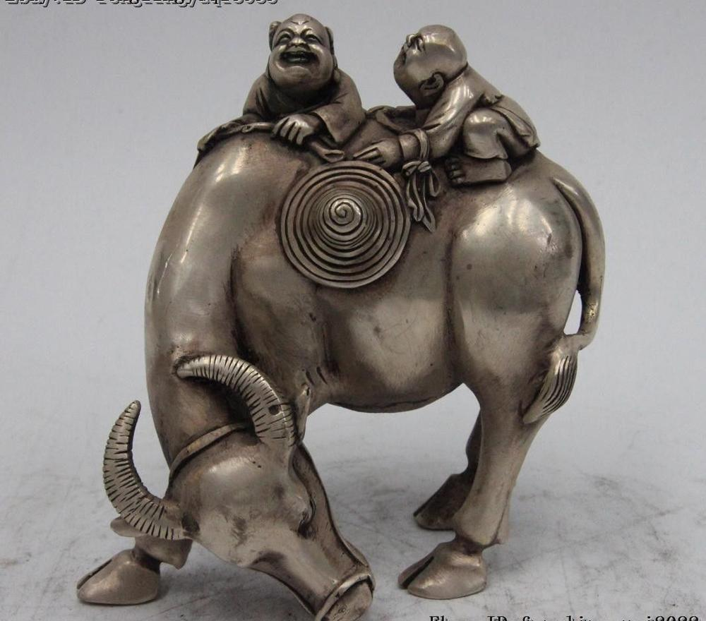 Chinese White Bronze Silver Child Kid Boy Pasture Cattle Oxen Bull Animal Statue