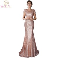 In Stock 100 Real Pic Long Party Dress Rose Gold Mermaid Evening Dresses Bling Sequined Fabric