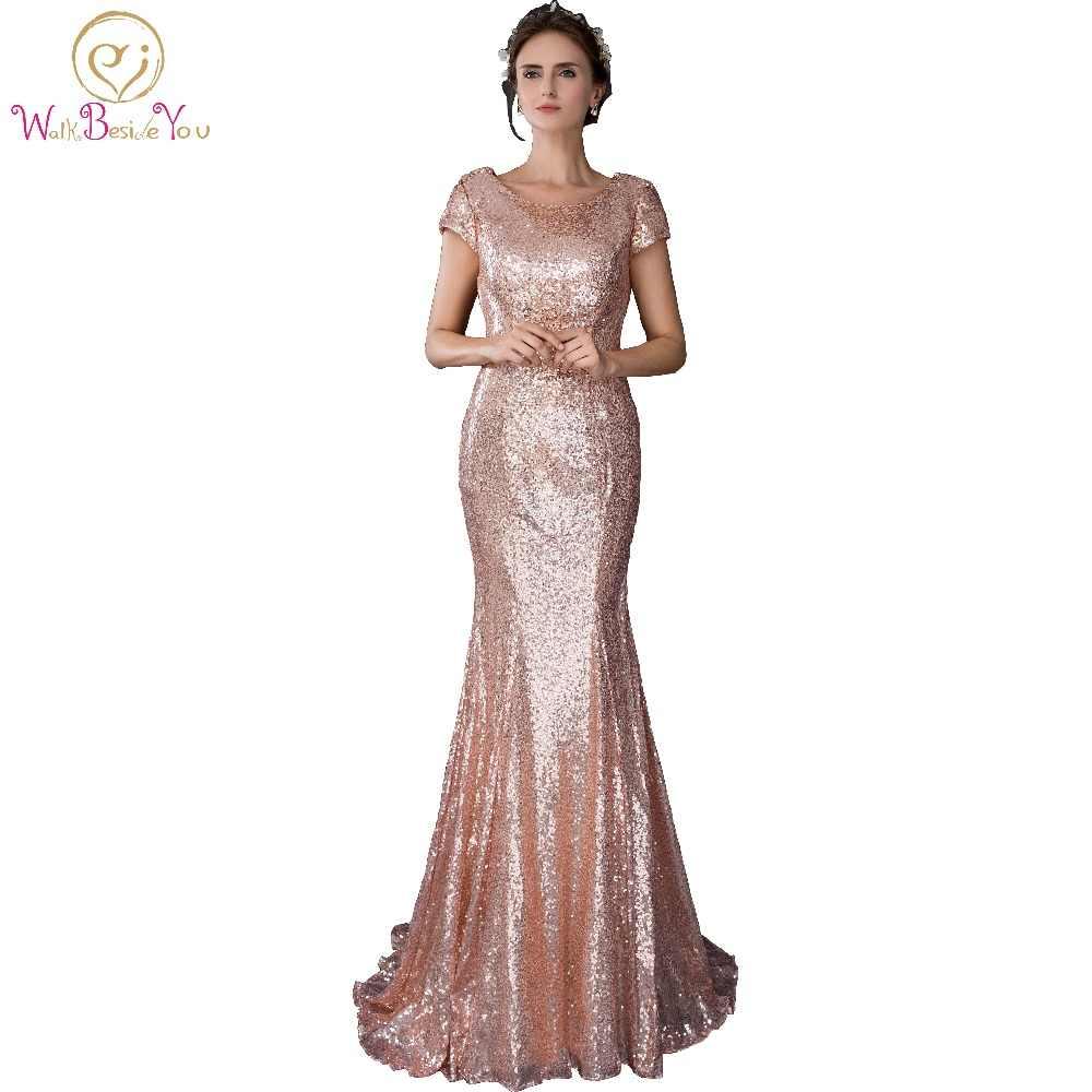 52ecce830 En Stock 100% Real Pic partido largo oro rosa sirena vestidos de noche  Sequined tela