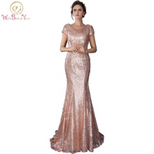 In Stock 100% Real Pic Long Party Dress Rose Gold Mermaid Evening Dresses Bling Sequined Fabric Elegant Party Prom Gown
