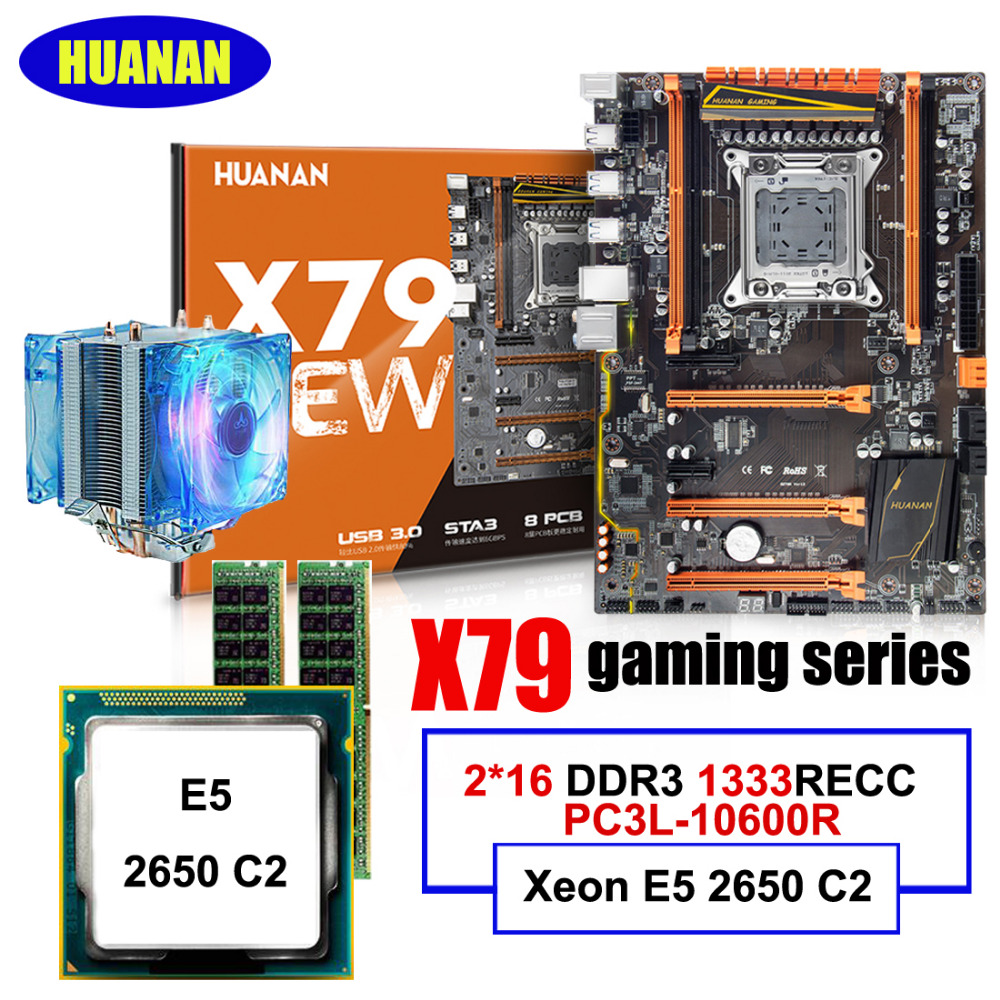HUANAN deluxe X79 LGA2011 motherboard CPU RAM set with CPU Cooler Xeon E5 2650 C2 RAM 32G(2*16G) DDR3 1333MHz RECC all tested huanan v2 49 x79 motherboard with pci e nvme ssd m 2 port cpu xeon e5 2660 c2 ram 16g ddr3 recc support 4 16g memory all tested