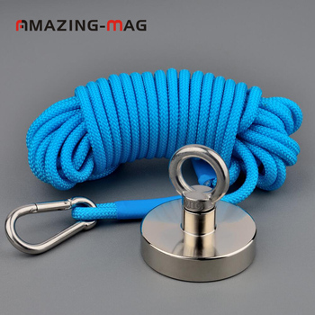 1PC 220KG Neodymium Magnet Big Suction River Fishing Magnet Salvage Imanes with Rope Magnetic Strong Treasure Hunter Magnets