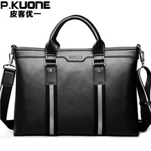 P . kuone men genuine leather bag, man leather handbag, men commercial briefcase,  cowhide messenger bag, free shipping
