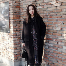 2016 autumn winter fashion basic loose oversize pockets bomber jacket women long tweed woolen coat wool overcoat high quality