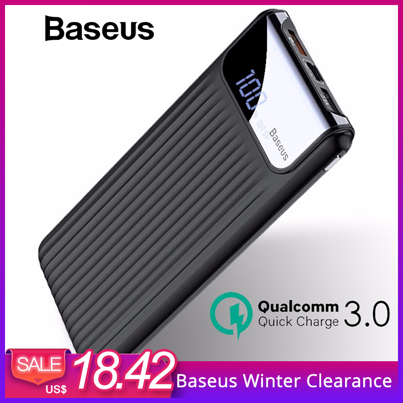 Baseus 10000 mAh LCD Quick Charge 3,0 Dual USB Power Bank Für iPhone X 8 7 6 Samsung S9 S8 xiaomi Power Batterie Ladegerät QC3.0