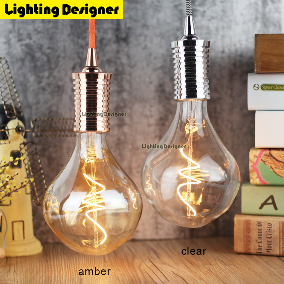Dimming G125 irregular led edison bulb spiral light amber retro saving lamp clear vintage filament bubble ball bulb 4W 220V 110V retro lamp st64 vintage led edison e27 led bulb lamp 110 v 220 v 4 w filament glass lamp