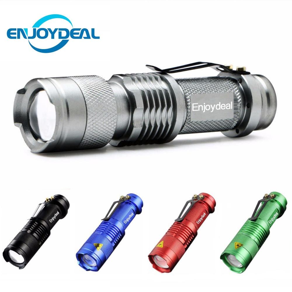 Portable LED Flashlight Q5 2000lm Mini Flashlight Waterproof LED Lanterna 5 Colors 1 Modes Zoomable LED Torch Penlight AA 14500