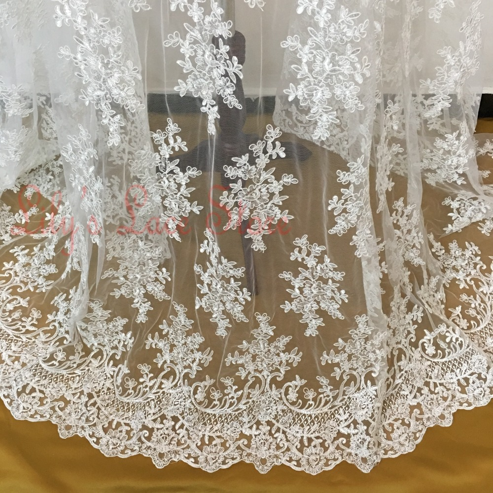 2015 High end elegant fine workmanship tulle mesh embroidered bright white wedding lace fabric with cording