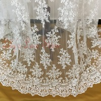 2015 High End Tulle Mesh Embroidered Ivory Wedding Lace Fabric With Cording