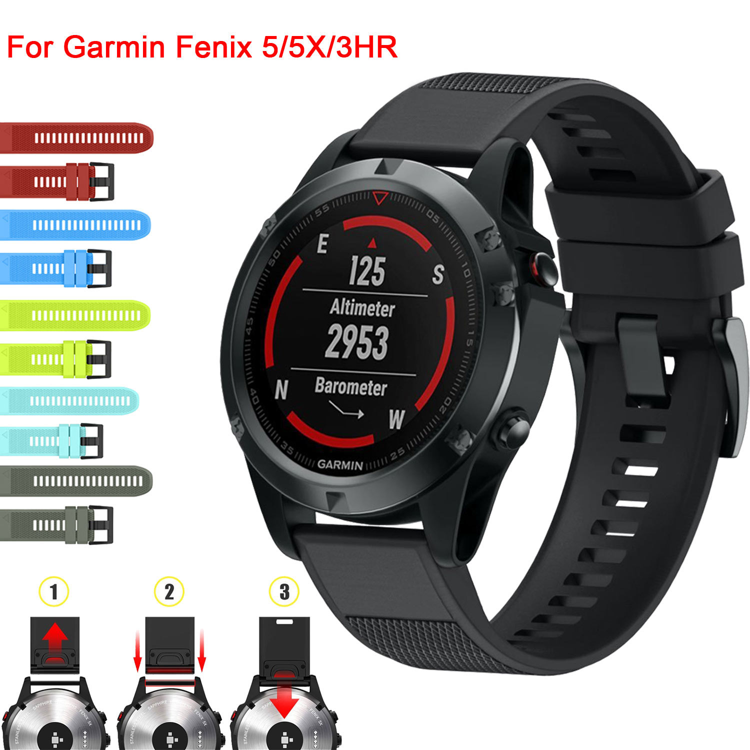 22mm 26mm Sport Silicone Strap For Garmin Fenix 5x 5 3 3hr D2 Sapphire Slate Grey Charlie Watch Band Quick Release Soft In Watchbands From Watches On