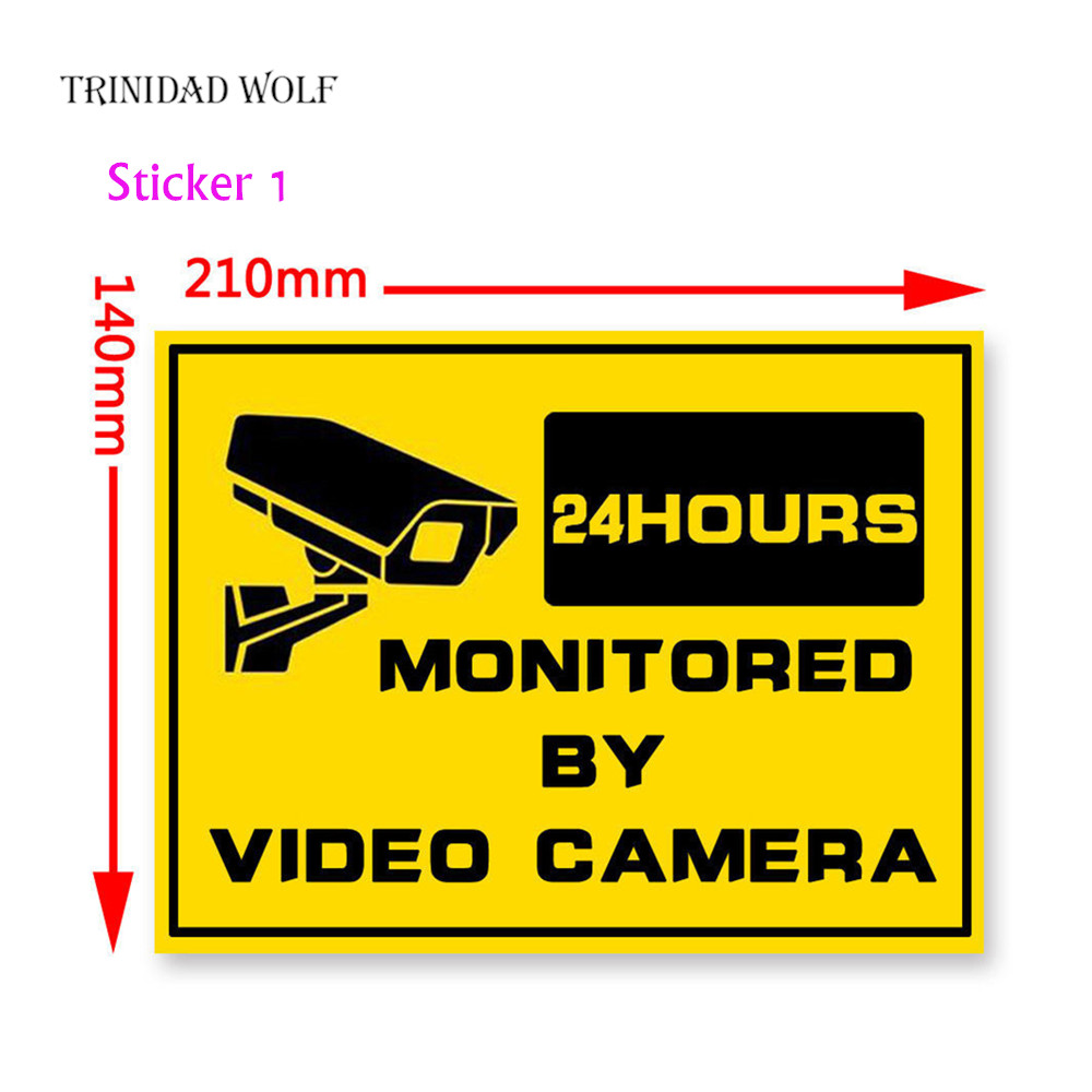 TRINIDAD WOLF Security Camera Sticker Warning sticker For Fake Camera WIFI IP Camera and Home Security CCTV Surveillance System trinidad wolf solar fake camera security