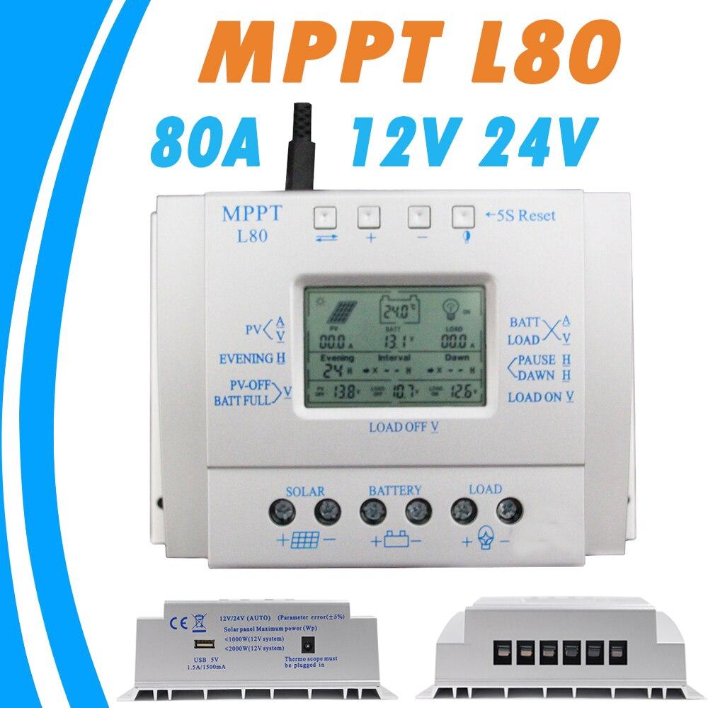 80A Solar Charger Controller USB 1 5A 5V Output 12V 24V LCD Solar Panel Regulator with