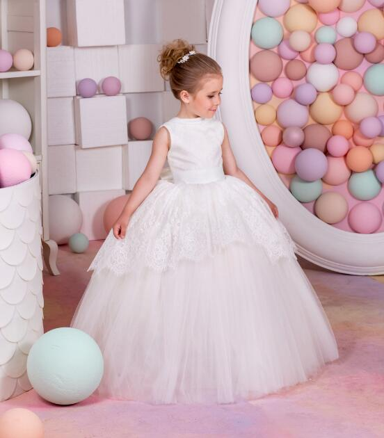 Ball Gown Fluffy Flower Girl Dress for Wedding White Ivory Lace with Sash Girls Communion Gown Birthday Dress Size 2-16Y