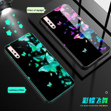 Luminous Glass Phone Case For VIVO S1 V15 Pro Luxury Tempered Glass Back Cover For vivo iqoo neo Z5 Y7S X27 Pro Night Shine Case(China)