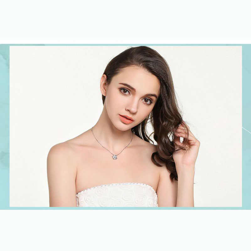 Mewah 925 Sterling Silver Kristal Kalung Liontin Murni Perak Perhiasan untuk Wanita Hadiah Perhiasan
