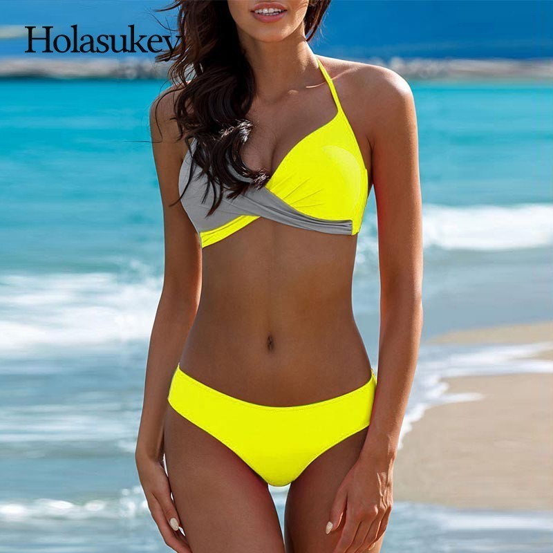 HolaSukey 2018 Sexy Bikinis Set halter Top Bikini Push Up Swimsuit Women Chest Cross Swimwear Women Bathing Suit Biquini цена