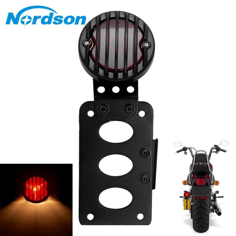 Nordson Support De Moto Feu Arrière Montage Latéral Queue feu stop Pour Harley Cruiser Bobber Hachoir Rue Standard Dirt Bike