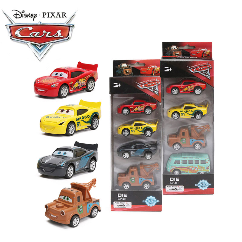 4pcs 7-8cm Disney Pixar Cars 3 Super Power Diecast 1:55 Collection Storm Jackson Lighting McQueen Smokey Pull Back Metal Car Toy