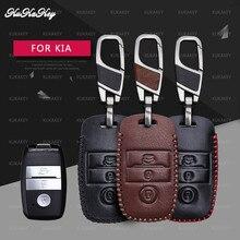 Genuine Leather Smart Key Case Cover For Kia Rio 3 K2 Ceed Cerato K3 Sportage 4 Picanto K5 Optima Sorento Forte Stinger 3Button 3d styling car seat cover for kia sorento sportage optima k5 forte rio k2 cerato k3 carens soul cadenza high fiber car pad