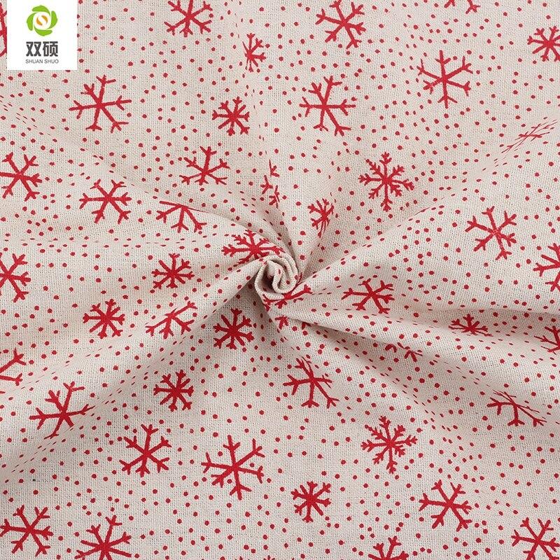 Print Christmas Pattern Cotton Linen Fabric DIY Christmas