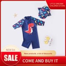 Летний купальный костюм для маленьких мальчиков+ шапочка, комплект из 2 предметов, купальный костюм с акулами и рыбами одежда для купания для малышей, детская пляжная одежда для купания в полоску