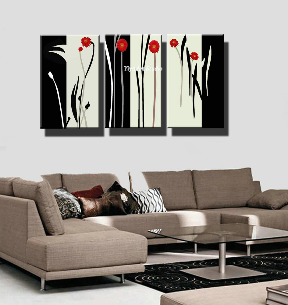 Black and white red flower picture decorative 3 piece for Black and white mural prints