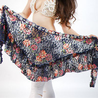 E&A Women Belly Dance Costume Hip Scarf Lady Triangle Practice Wrap Skirt Bellydance Belt Training Clothes Flower Accessories