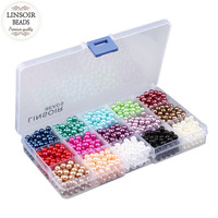Hot Sale 1Set Lot 15 Mix Colors Jewelry Colorful Round Imitation Pearl Loose Glass Bead DIY