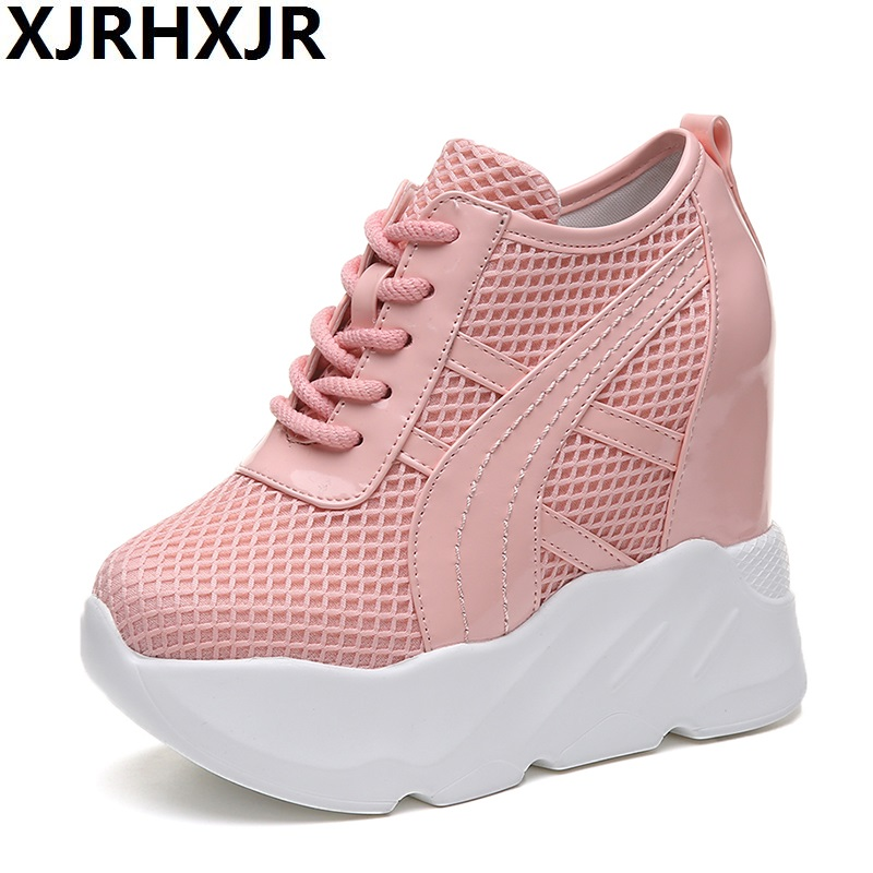 XJRHXJR Woman Platform Shoes Hidden Heel Height Increasing Mesh Casual Wedges Shoes Female Chaussure Femme 12cm Heels Sneakers sayoyo brand genuine cow leather baby moccasins snail toddler infant footwear soft soled baby boy shoes pre walker free shipping