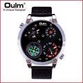 Oulm # HP3707 Новый Дизайн Мода Мужская Спорт Кварцевые Часы Кожаный Ремешок Двойной Часовой пояс с Компас На Открытом Воздухе Военный часы