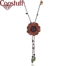 Handmade Genuine Leather Necklace Women with Flower Pendant necklaces & pendants Wholesale Jewelry collares mujer colar choker