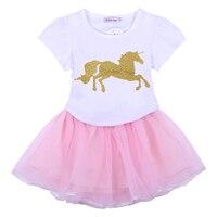 2PCS Girl's Sets Cartoon Horse Printed T-shirt + Tutu Skirt 2018 New Kids Summer Clothing Suits Girls