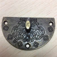400Pcs Box Buckles Pattern Carved Round,Wooden DIY Box Lock,Bronze Tone 3.9cm(1 4/8