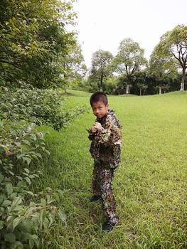 Children's new 3D leaf camouflage suit Geely suit Bird watching suit Shooting camouflage Hunting clothes and pants 1
