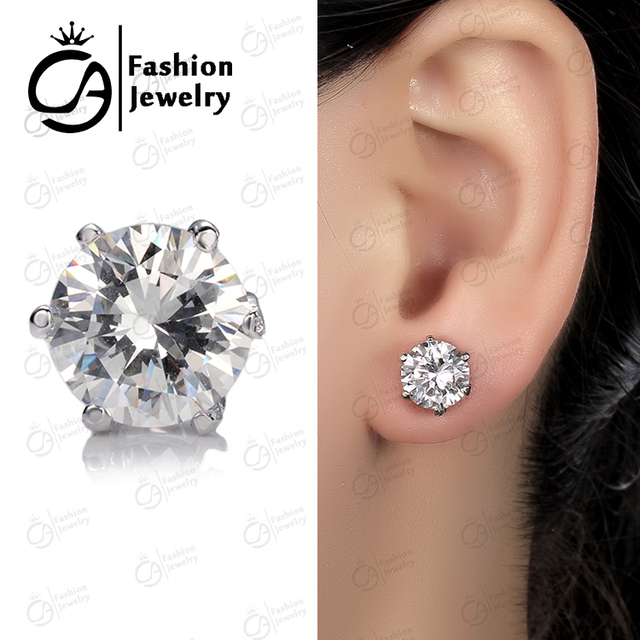 Ola 14k White Gold Platinum Plated Round Clear Cubic Zirconia Stud Earrings For Women E07960