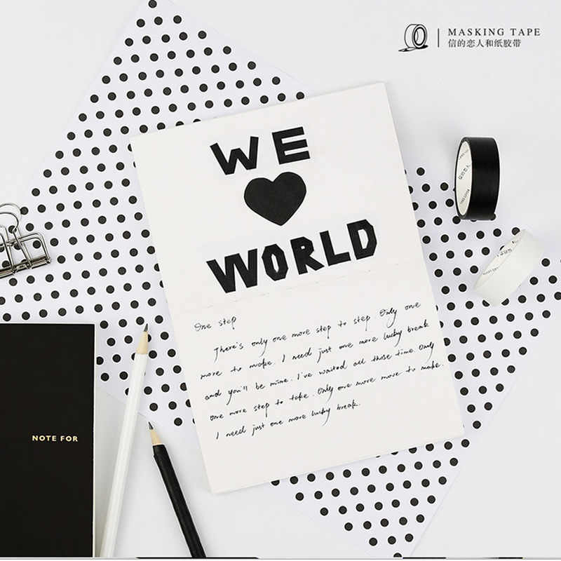 5 Mm 15 Mm Solid Putih Hitam Washi Masking Tape Dekoratif Dasar Kertas Ditulis Perekat Sekolah Alat Tulis
